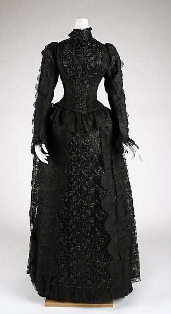 Evening dress, cotton, silk, French