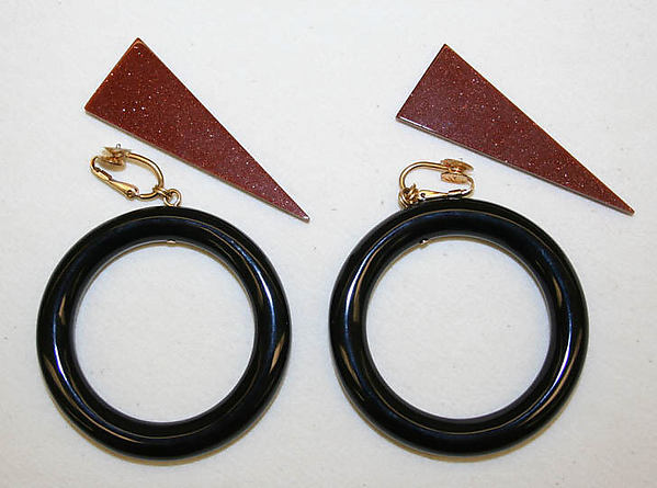 Earrings, Stephen Dweck, goldstone, agate, American