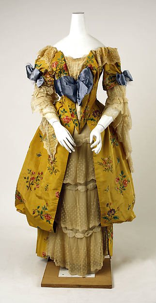 Evening dress, House of Worth (French, 1858–1956), silk, cotton, French