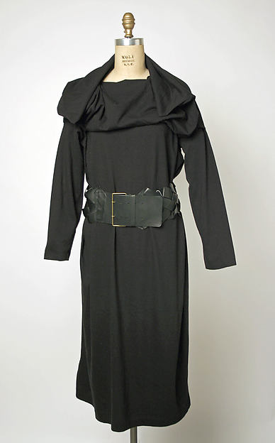 Dress, Comme des Garçons (Japanese, founded 1969), cotton, leather, Japanese