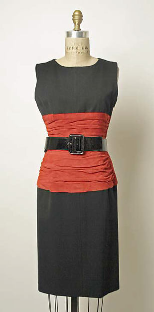 Dress, Yves Saint Laurent, Paris (French, founded 1961), wool, leather, French