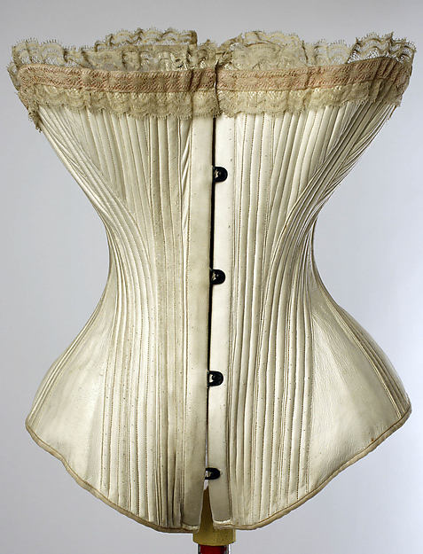 Corset, La Sirene (French), a,b) leather, metal, cotton, silk, French