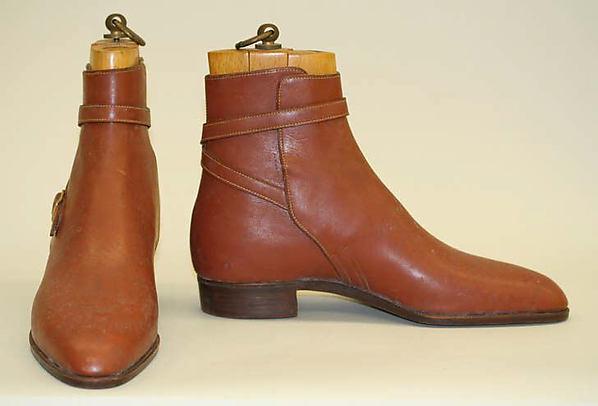 Boots, John Lobb (British), a,b) leather; metal, British