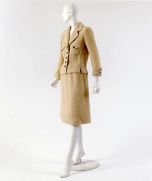 Suit, House of Chanel (French, founded 1913), a) wool, metal, silk; b) wool, silk, French