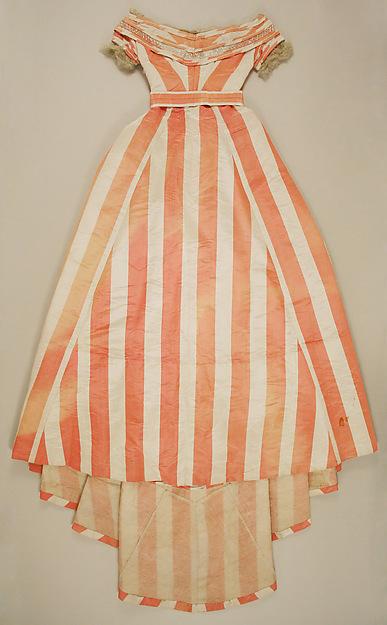 Evening dress, silk (probably), glass, British