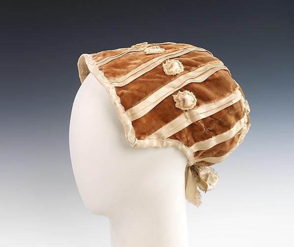 Evening bonnet, silk, American