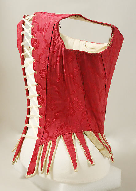 Bodice, silk, leather, iron, baleen, linen, European