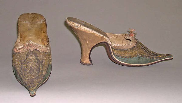 Mules, leather, silk, French
