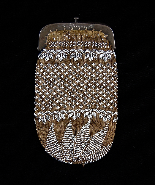 Coin purse, Glass, silk, metal, leather, American