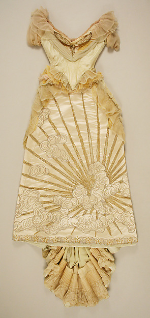 Ball gown, House of Worth (French, 1858–1956), silk, glass, metallic thread, French