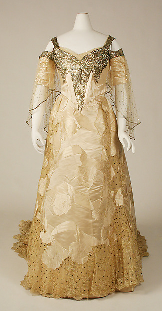 Ball gown, House of Worth (French, 1858–1956), silk, sequins, French