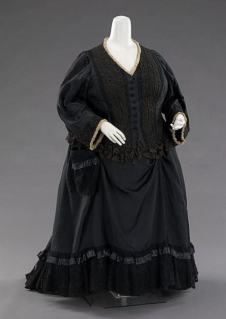 Mourning dress, silk, British