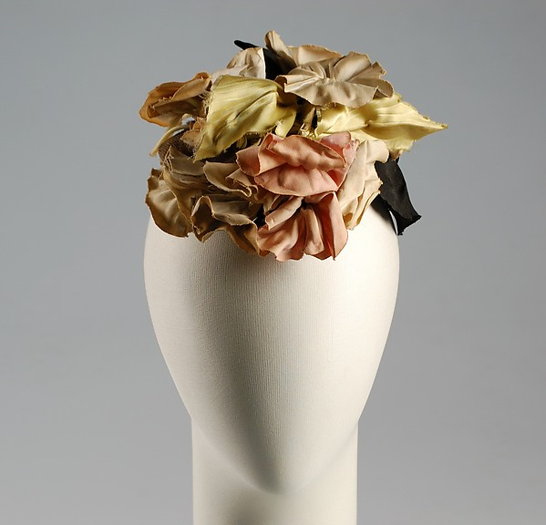 Dinner hat, House of Schiaparelli (French, founded 1928), Cotton, silk, French