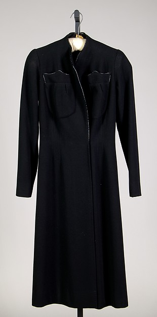 Coat, House of Schiaparelli (French, founded 1928), Wool, leather, French