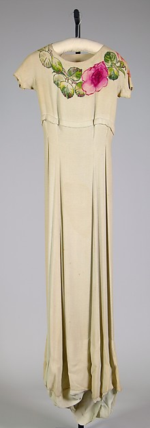 Evening dress, House of Schiaparelli (French, founded 1928), Synthetic, French