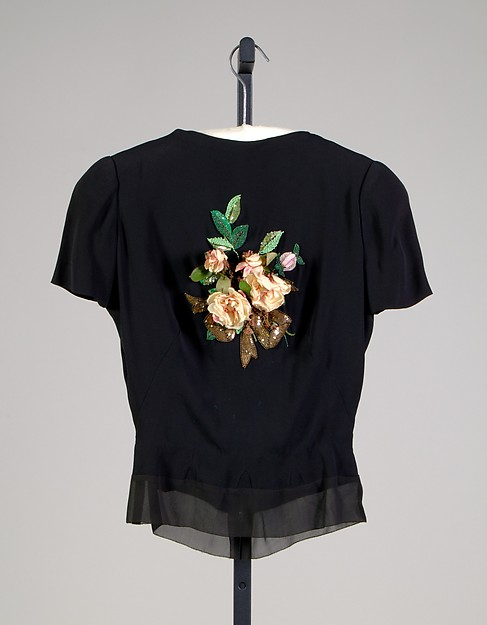 Evening blouse, House of Schiaparelli (French, founded 1928), Silk, beads, sequins, artificial flowers, French