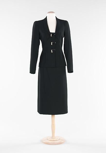 Suit, Elsa Schiaparelli (Italian, 1890–1973), wool, silk, metal, French