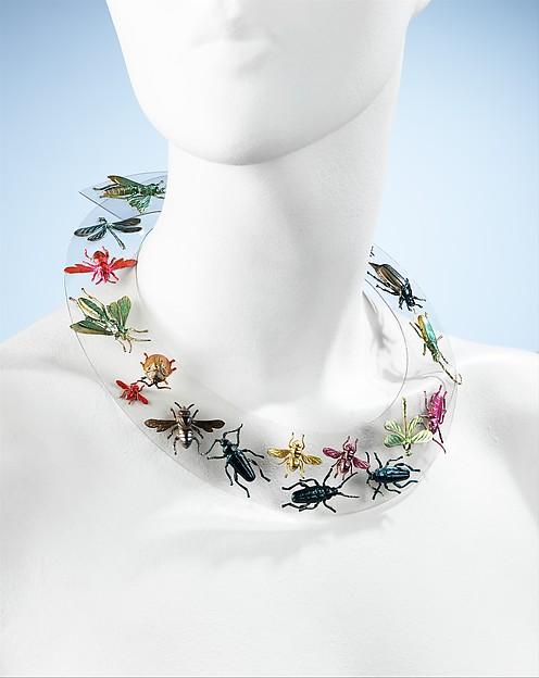 Necklace, Elsa Schiaparelli (Italian, 1890–1973), synthetic, metal, French