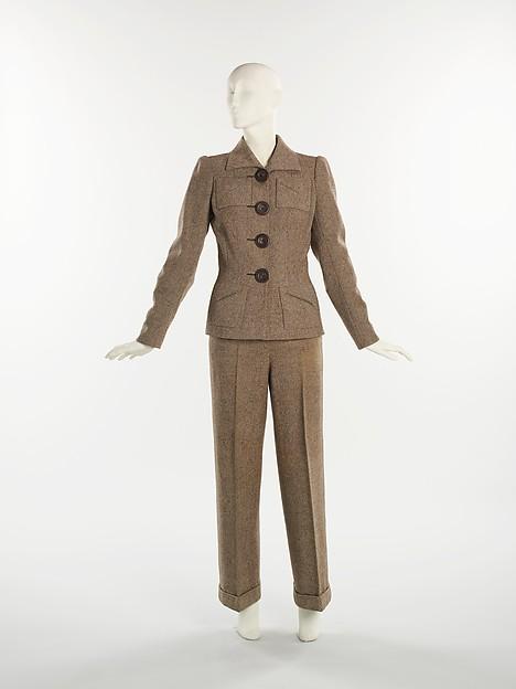 Pantsuit, Elsa Schiaparelli (Italian, 1890–1973), wool, leather, French
