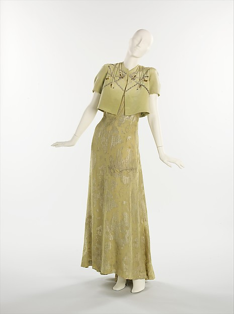Evening ensemble, Elsa Schiaparelli (Italian, 1890–1973), silk, metal, French