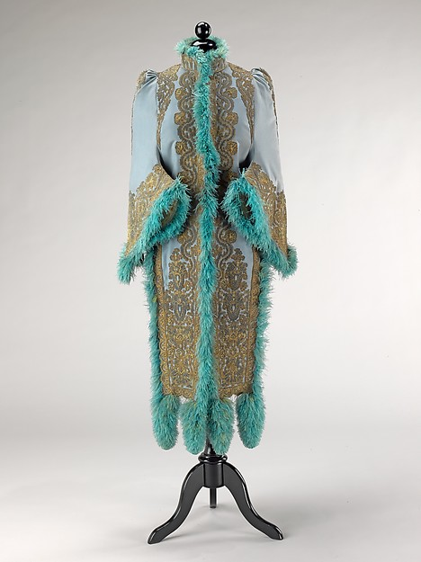 Mantle, Emile Pingat (French, active 1860–96), wool, silk, metal, feathers, French