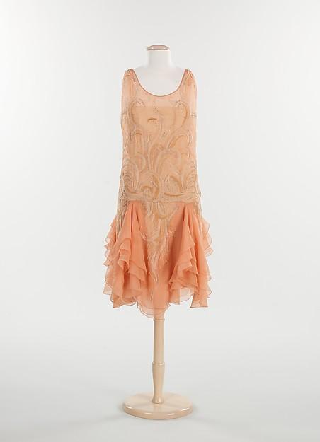 Evening dress, silk, metal, rhinestones, French