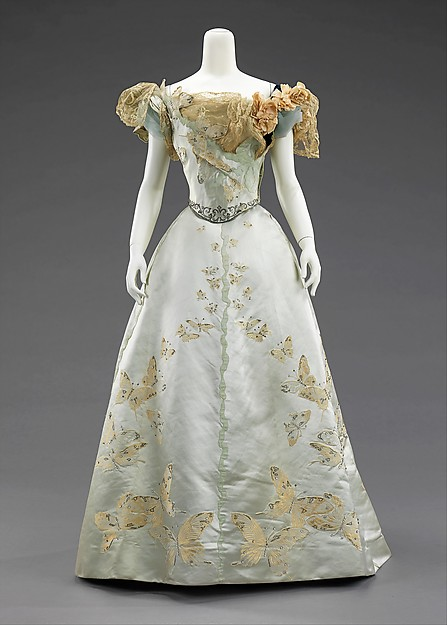 Ball gown, House of Worth (French, 1858–1956), silk, rhinestones, metal, French