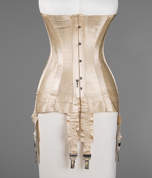 Corset, silk, bone, metal, elastic, French