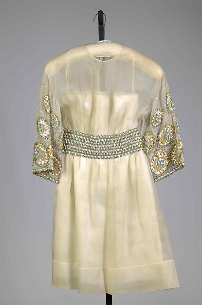 Cocktail dress, Possibly Yves Saint Laurent, Paris (French, founded 1961), Silk, beads, French