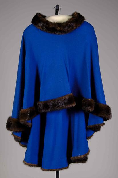 Evening poncho, Halston (American, Des Moines, Iowa 1932–1990 San Francisco, California), Silk, metal, wool, fur, American