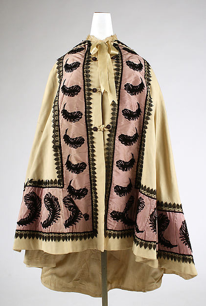 Cloak, wool, silk, American