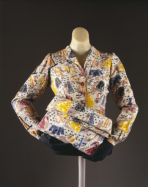 Evening blouse, Elsa Schiaparelli (Italian, 1890–1973), rayon, plastic, glass, French