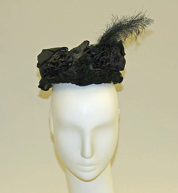 Bonnet, straw, feathers, American