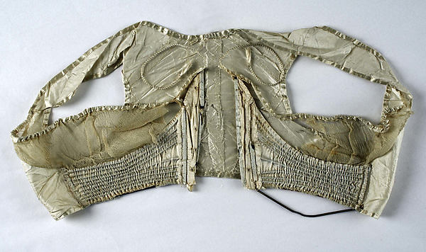 Corset, silk, metal, baleen, probably French