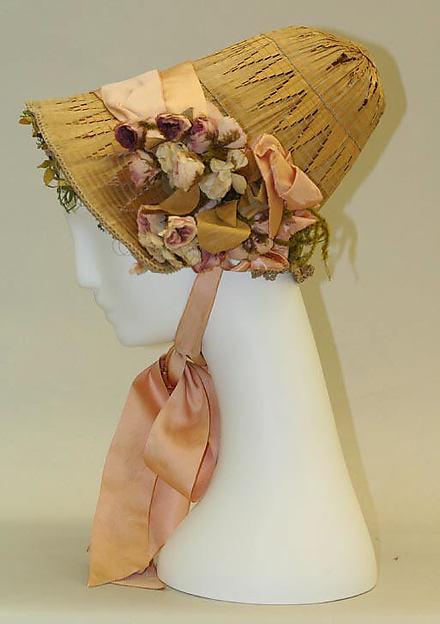 Bonnet, straw, silk, American