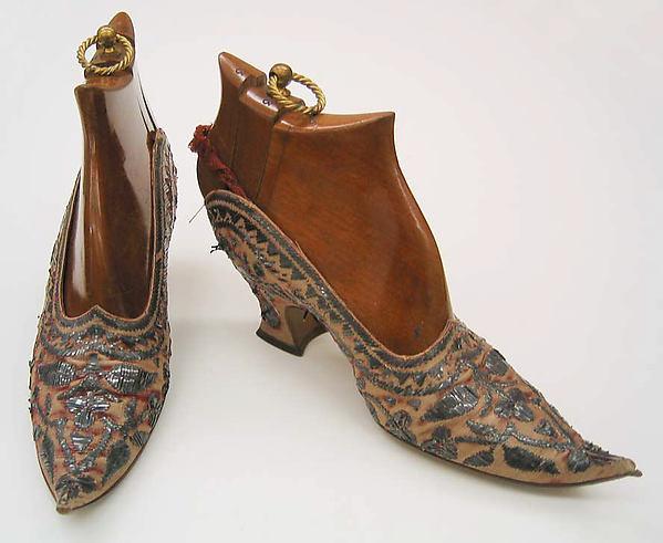 Pumps, Pierre Yantorny (Italian, 1874–1936), leather, silk, metallic, French