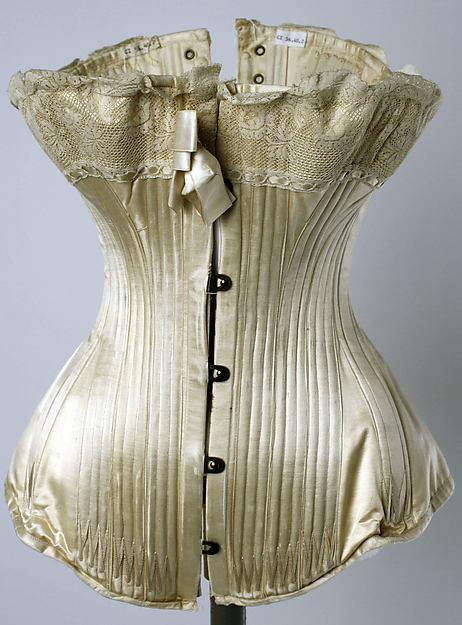 Corset, silk, cotton, metal, boning, French