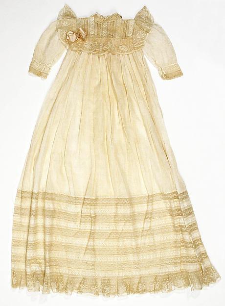 Christening dress, cotton, silk, American