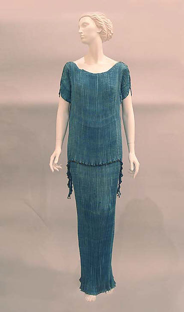 Evening dress, Fortuny (Italian, founded 1906), silk, glass, cotton, Italian