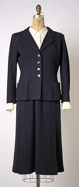 Ensemble, House of Chanel (French, founded 1913), wool, cotton, silk, metal, straw, French