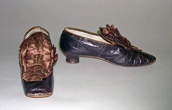 Shoes, silk, leather, wood, American
