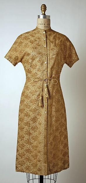 Evening ensemble, (a, b) Anne Fogarty (American, Pittsburgh, Pennsylvania 1919–1980 New York), (a, b) cotton, metallic thread; (c, d) leather, metallic thread, American