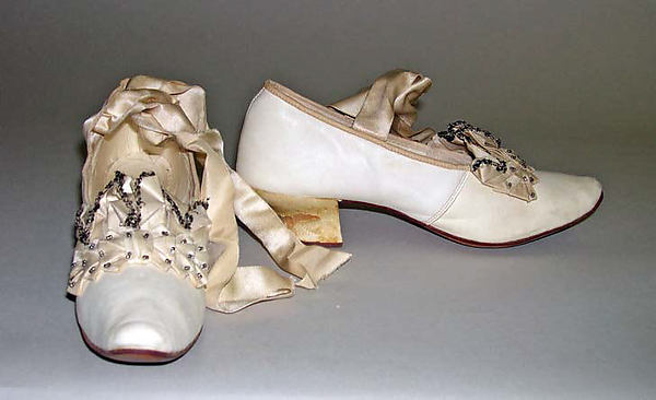 Slippers, leather, silk, American