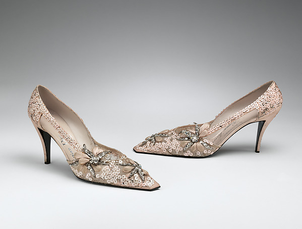 Evening shoes, House of Dior (French, founded 1947), silk, nylon, leather, plastic, metallic thread, glass, French