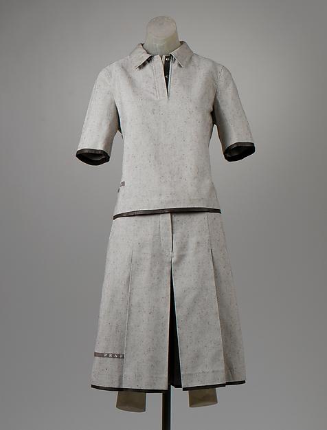 Ensemble, Prada (Italian, founded 1913), cotton, leather, Italian