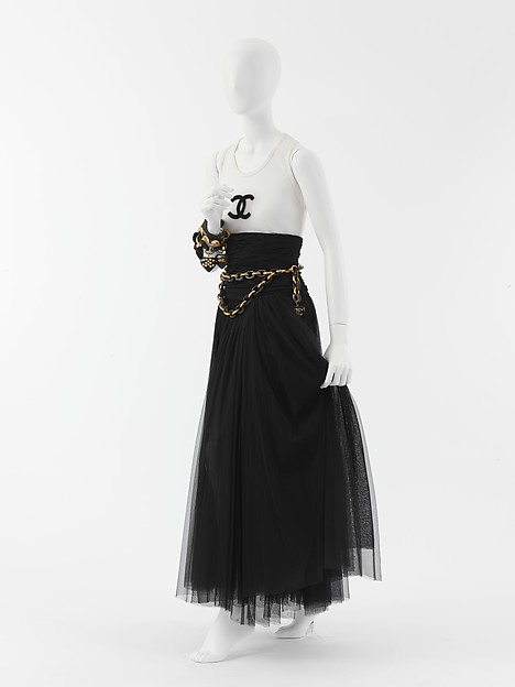 Evening ensemble, House of Chanel (French, founded 1913), silk, cotton, leather, wood, metal, French