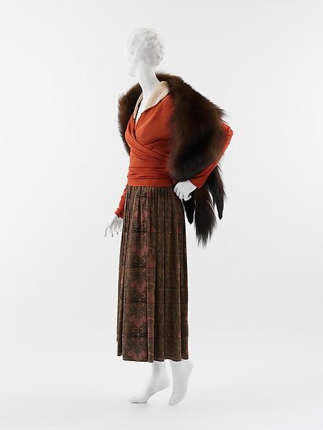 """""""Feuille d'automne"""", Paul Poiret (French, Paris 1879–1944 Paris), a, b) silk; c) fur, silk, French"""