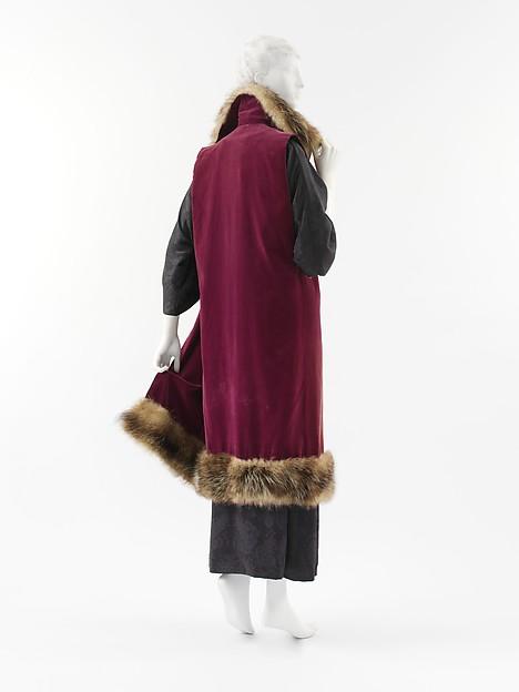 Ensemble, Paul Poiret (French, Paris 1879–1944 Paris), a) silk, fur; b) silk, French