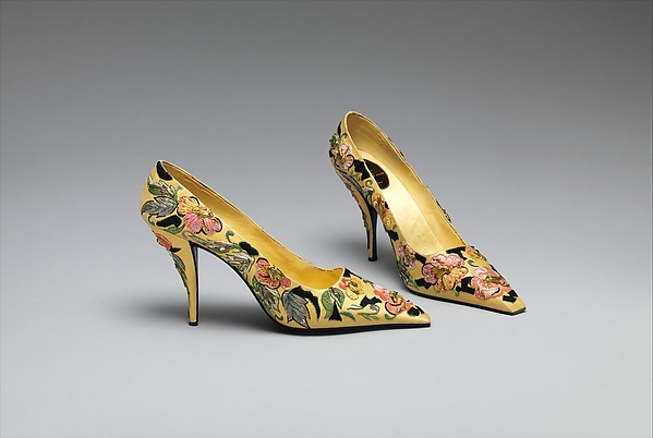 Pumps, House of Dior (French, founded 1947), silk, leather, metallic thread, plastic, French