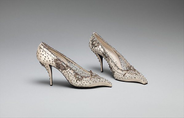 Evening shoes, House of Dior (French, founded 1947), silk, leather, nylon, metallic thread, glass, French